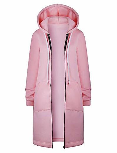 abordables EXTÉRIEUR-femmes chaudes zipper ouvert hoodies sweat long manteau veste tops outwear rose