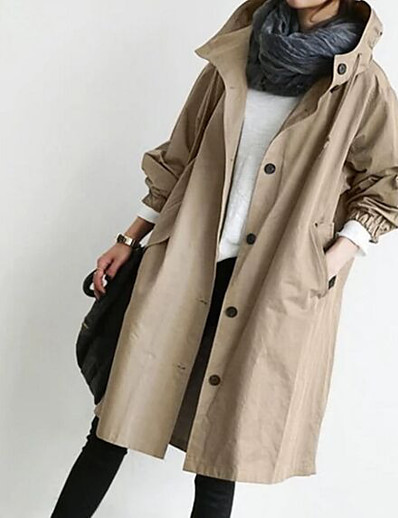 cheap OUTERWEAR-Women's Single Breasted Trench Coat Regular Solid Colored Daily Black Blue Red Army Green S M L XL / Loose