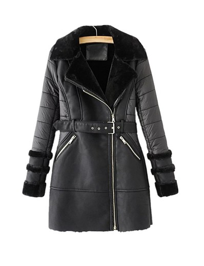 cheap 2021 Trends-Women's Coat Daily Fall & Winter Long Coat Regular Fit Basic Jacket Long Sleeve Solid Colored Black