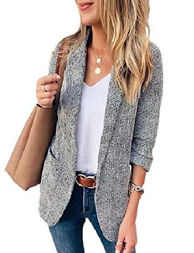cheap Blazers-women's casual long sleeve lapel open front slim work office blazer jacket casual work office jackets blazer grey