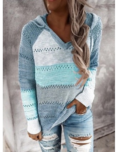 cheap NEW IN EXCLUSIVE-Women's Knitted Color Block Pullover Long Sleeve Loose Sweater Cardigans Hooded Fall Winter Black Wine khaki
