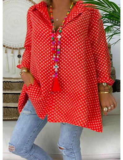 abordables Tops grande taille-Blouse Chemise Femme Quotidien Grandes Tailles Points Polka Manches Longues Col de Chemise Hauts Ample Haut de base Bleu Rouge Jaune