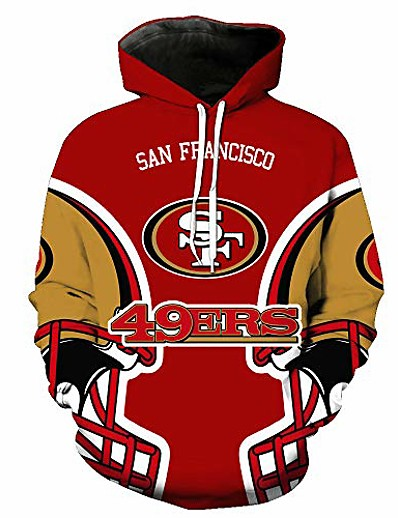 cheap Men's 3D-men's long sleeve 3d digital print casual fashion sf 49ers design couple's pullover hoodies(l,colorful)