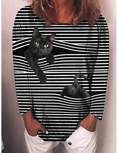 cheap NEW IN-Women's T-shirt Striped Cat Long Sleeve Print Round Neck Tops Basic Basic Top Black