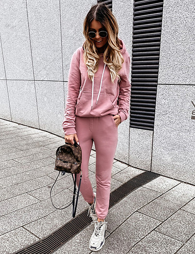 cheap Two Piece Set-Women's Basic Solid Color Two Piece Set Hooded Hoodie Pant Patchwork Drawstring Tops