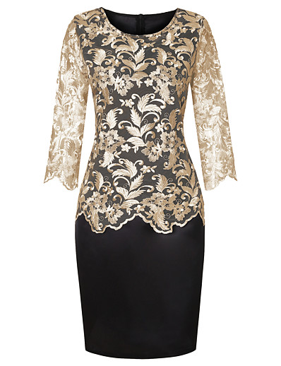 cheap Plus Size Dresses-Women's Sheath Dress Knee Length Dress - Half Sleeve Print Solid Color Embroidered Mesh Lace Spring Summer Plus Size Formal Loose 2020 Gold Silver S M L XL XXL 3XL 4XL 5XL