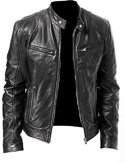 cheap Men's Outerwear-genuine leather biker jacket for men