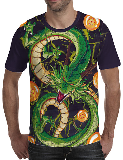 cheap MEN-Men's T shirt 3D Print Graphic Animal Plus Size Print Short Sleeve Daily Tops Elegant Exaggerated Round Neck Green