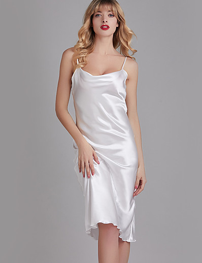 cheap JUMPSUITS & ROMPERS-Women's Home Imitated Silk Loungewear Solid Color S White