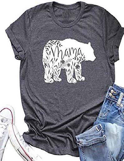 abordables NOUVELLE DANS-femme maman ours chemise tee graphique à manches courtes tops maman chemise cadeau maman top (gris, s)