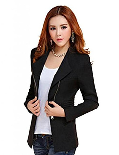 cheap Blazers-womens metal zip skinny jackets long sleeve blazer suit coat overcoat