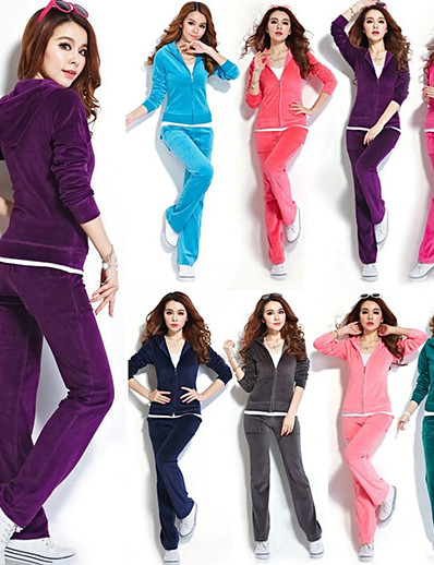 cheap Running, Jogging & Walking-Women's 2 Piece Full Zip Tracksuit Sweatsuit Casual Athleisure Winter Long Sleeve Velour Thermal Warm Breathable Softness Yoga Fitness Pilates Running Jogging Sportswear Solid Colored Plus Size