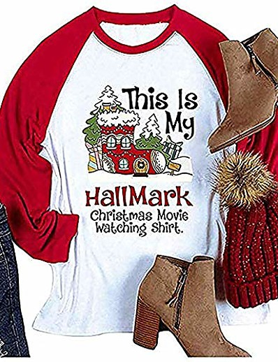 cheap Tees & T Shirts-women's t-shirt this is my hallmark christmas movie watching shirt fashion casual long sleeve tops red