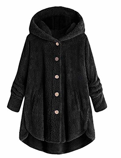 cheap Plus Size Outerwear-Women's Coat Solid Color Modern Style Casual Fall & Winter Others Regular Casual / Daily Polyester Coat Tops Blushing Pink