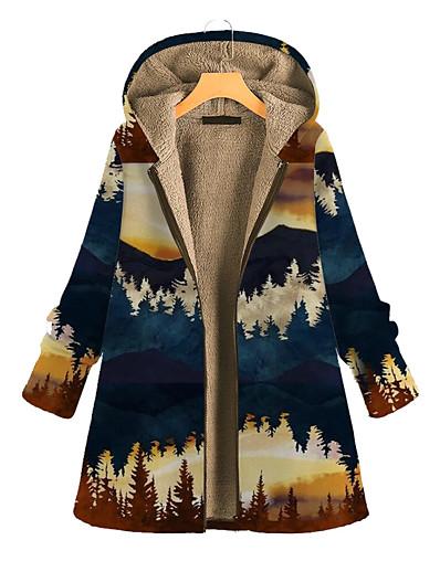 cheap Coats & Trench Coats-Women's Parka Parka Color Block POLY Blue / Red / Yellow L / XL / XXL