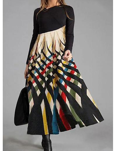 abordables Robes Maxi-Femme Robe Droite Robe Maxi longue - Manches Longues Bloc de Couleur Imprimé Automne Hiver Simple 2020 Arc-en-ciel M L XL XXL 3XL