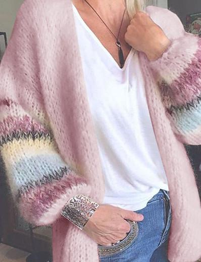 cheap Sweaters & Cardigans-Women's Basic Oversized Color Block Rainbow Cardigan Long Sleeve Sweater Cardigans Crew Neck Fall Winter Yellow Blushing Pink Light Green