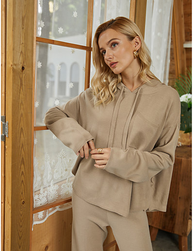 cheap 2021 Trends-Women's Pocket Solid Color Plain Pullover Long Sleeve Sweater Cardigans Hooded Fall Winter Light Brown