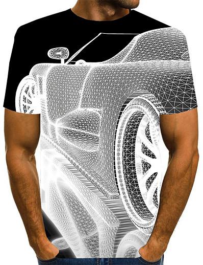 preiswerte Herren-Herren T-Shirt Hemd 3D-Druck Grafik 3D Übergrössen Druck Kurzarm Alltag Oberteile Elegant Übertrieben Rundhalsausschnitt Weiß Blau Purpur