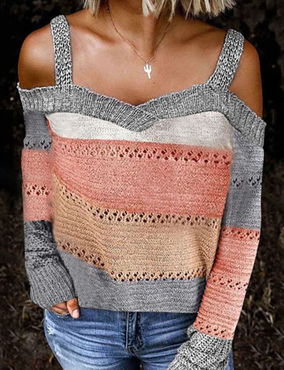 cheap TOPS-Women's Knitted Hollow Out Striped Color Block Sweater Long Sleeve Plus Size Sweater Cardigans Off Shoulder Fall Black Blue Wine