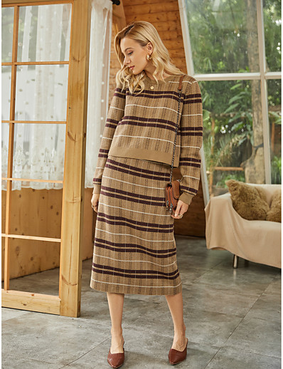 cheap 2021 Trends-Women's Basic 2 Piece Knitted Striped Pullover Dress Acrylic Fibers Cotton Long Sleeve Sweater Cardigans Crew Neck Round Neck Fall Winter Brown