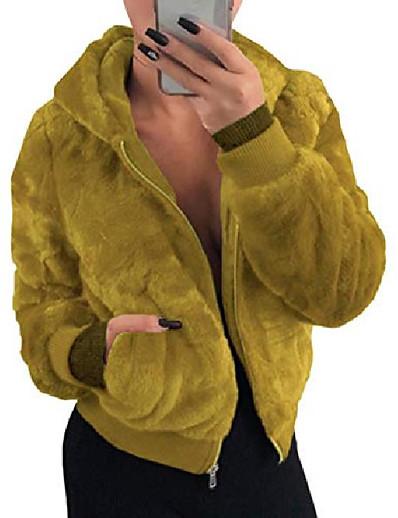 abordables EXTÉRIEUR-Veste de bombardier à manches longues en fausse fourrure pour femmes Zip Up Shearling Teddy Winter Hoodies Manteau en polaire (gi-3xl)