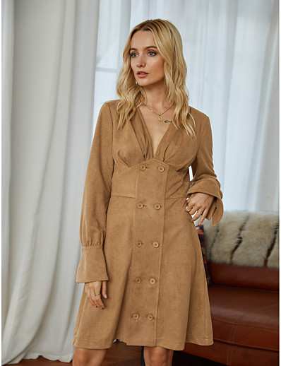 cheap 10/05/2020-Women's Sheath Dress Short Mini Dress - Long Sleeve Solid Color Ruched Fall Winter V Neck Elegant Vintage Party Going out 2020 Brown S M L XL