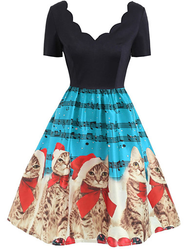 cheap Knee-Length Dresses-Women's A-Line Dress Knee Length Dress - Short Sleeve Print Backless Patchwork Zipper Winter Vintage Christmas 2020 Blue Red Green S M L XL XXL