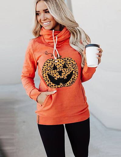 cheap HALLOWEEN-Women's Halloween Pullover Hoodie Sweatshirt Pumpkin Halloween Hoodies Sweatshirts  Black Orange Beige