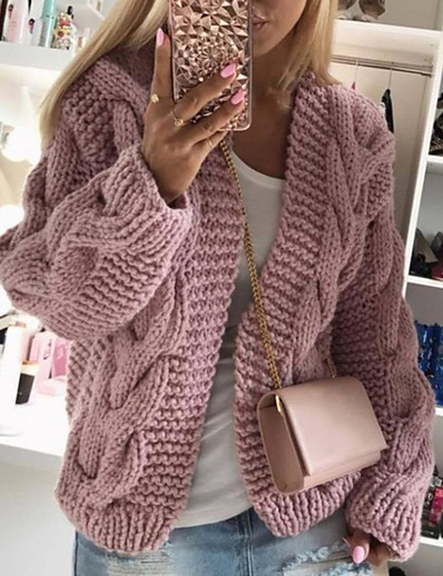 cheap Sweaters & Cardigans-Women's V Neck Sweater Coat Regular Solid Colored Daily White Black Red Blushing Pink S M L XL / Loose