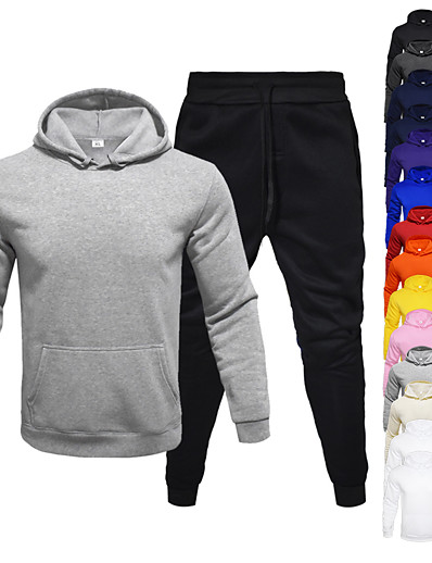 cheap Running, Jogging & Walking-Men's 2 Piece Tracksuit Sweatsuit Jogging Suit Athleisure Long Sleeve 2pcs Winter Thermal Warm Breathable Moisture Wicking Fitness Gym Workout Running Jogging Training Sportswear Solid Colored Normal