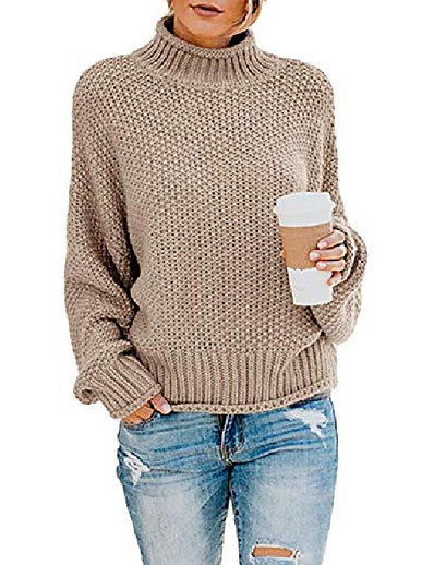 cheap Sweaters & Cardigans-women casual pullover sweater turtleneck batwing long sleeve chunky knitted jumper tops khaki
