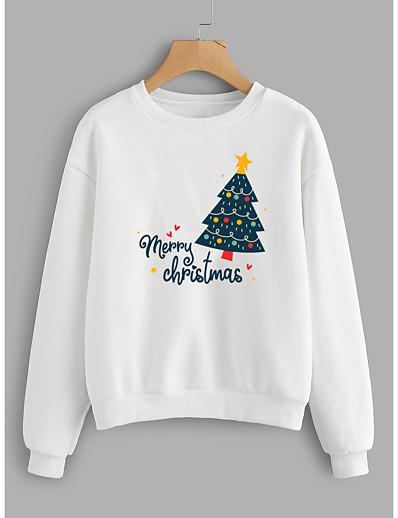preiswerte Weihnachtsoberteile-Damen Pullover Sweatshirt Grafik Buchstabe Weihnachten Alltag Grundlegend Weihnachten Kapuzenpullover Sweatshirts Weiß Gelb Rosa