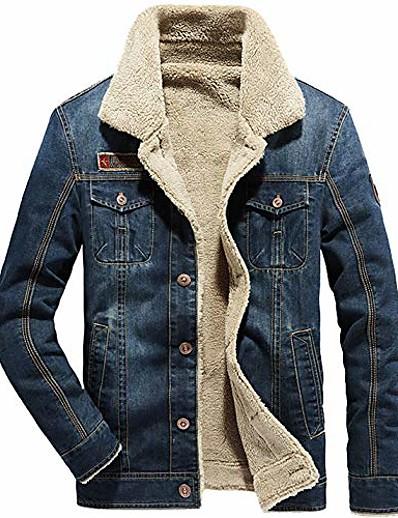 cheap MEN-men's sherpa fleece lined denim trucker jacket winter jean jacket cowboy coat (x-large, 02 dark blue)