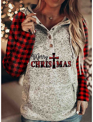 cheap CHRISTMAS-Women's Pullover Hoodie Sweatshirt Color Block Letter Christmas Christmas Hoodies Sweatshirts  Gray