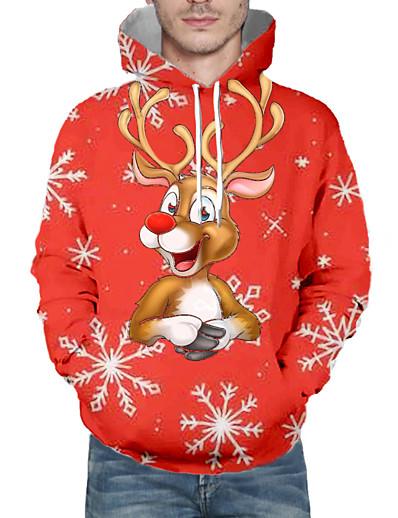 cheap NEW IN-Men's Pullover Hoodie Sweatshirt Print 3D Graphic Hooded Christmas 3D Print Christmas Hoodies Sweatshirts  Long Sleeve Red