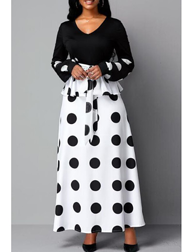 abordables NOUVELLE DANS-Femme Robe Fourreau Robe Maxi longue - Manches Longues Points Polka Imprimé Eté Elégant 2020 Blanche S M L XL XXL 3XL 4XL 5XL