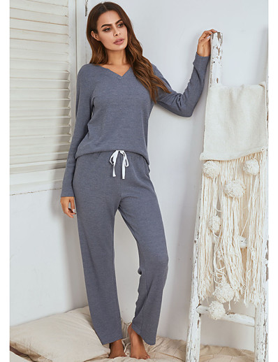 cheap JUMPSUITS & ROMPERS-Women's Home Polyester Loungewear Drawstring Solid Color S Blue