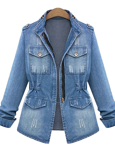 cheap Plus Size Outerwear-Women's Zipper Stand Collar Denim Jacket Regular Solid Colored Daily Basic Denim Blue S M L XL
