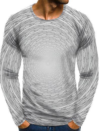 cheap Men's 3D-Men's T shirt 3D Print Graphic 3D Plus Size Print Long Sleeve Daily Tops Elegant Exaggerated White