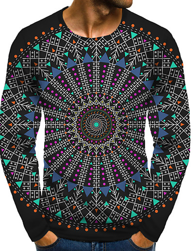 cheap Men's Tops-Men's T shirt 3D Print Graphic 3D Plus Size Print Long Sleeve Daily Tops Elegant Exaggerated Round Neck Rainbow