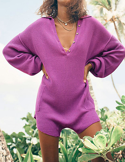 cheap JUMPSUITS & ROMPERS-Women's Basic Purple Dusty Rose Khaki Romper Solid Colored