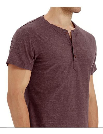 abordables HOMME-chemises pour hommes à manches courtes décontractées ample chemises henley t-shirt en coton noir m