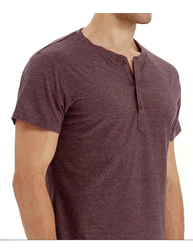 cheap MEN-mens shirts short sleeve casual loose fit henley shirts cotton t-shirt black m