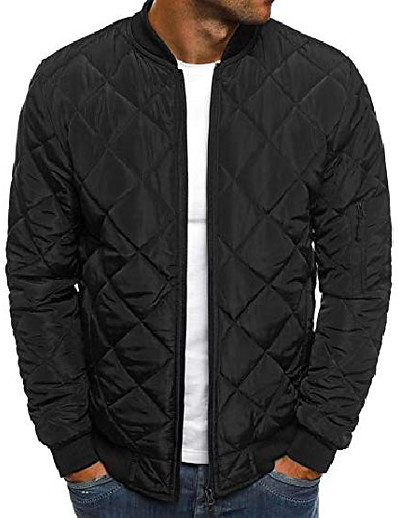 cheap Men's Outerwear-men's diamond quilted puffer bomber jacket full zip up softshell padded coat (medium, black)
