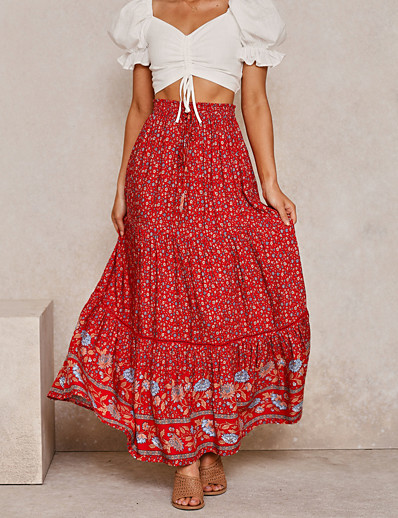 cheap Women's Skirts-Women's Basic Boho Skirts Floral Ruched Patchwork Red Khaki Dusty Blue