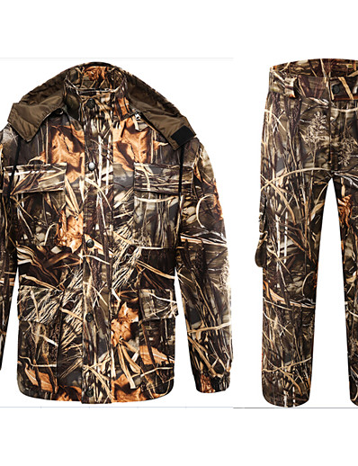 cheap SPORTSWEAR-Men's Unisex Hunting Jacket with Pants Outdoor Windproof Breathable Quick Dry Wear Resistance Spring Fall Camo / Camouflage Clothing Suit Polyester Taffeta Polyester Camping / Hiking Hunting Fishing