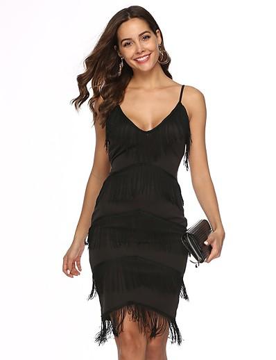 cheap NEW IN-Women's Strap Dress Short Mini Dress - Sleeveless Solid Color Lace Tassel Fringe Summer Sexy Party Slim 2020 Black S M L XL XXL