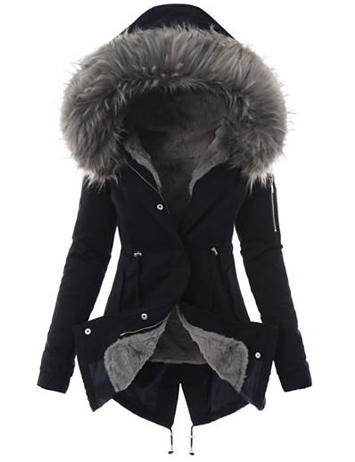 cheap Coats & Trench Coats-Womens Hooded Fleece Line Coats Parkas Faux Fur Jackets with PocketsS M L XL