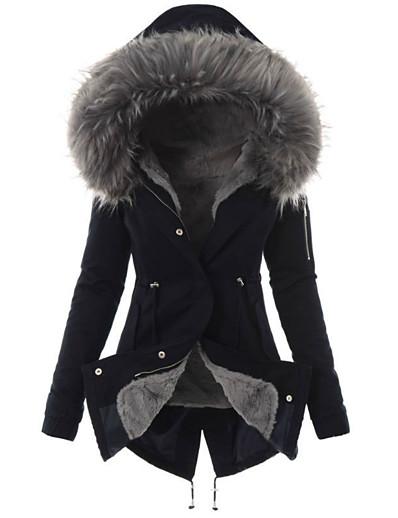 abordables Manteaux & Vestes Femme-Manteau Femme Automne Hiver Veste Manteau Longue Couleur Pleine Quotidien basique Coton Noir Rouge Jaune S M L XL